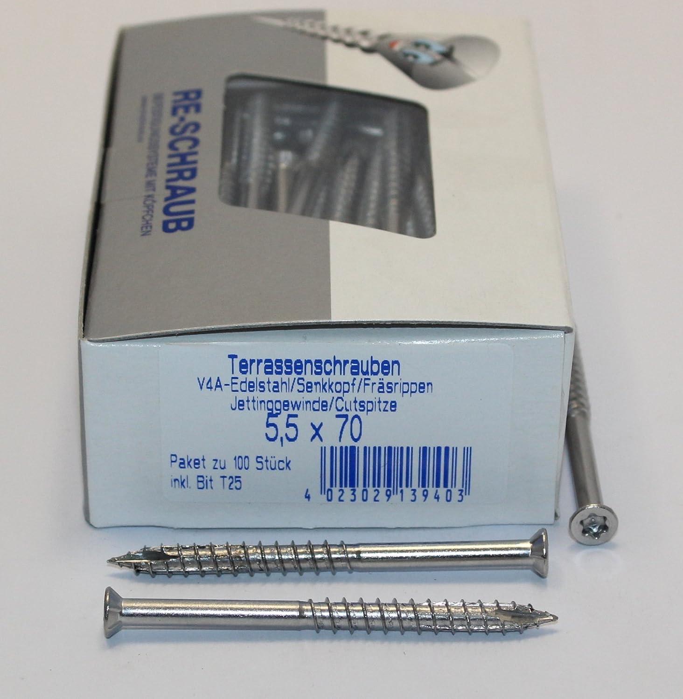 100 RE-SCHRAUB 5,5 x 70 mm Edelstahl A4 Torx TX 25 Terrassenschrauben rostfrei V4A von 100-1000 St/ück w/ählbar