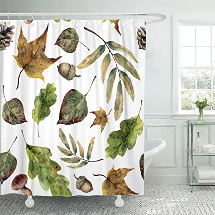 TOMPOP Shower Curtain Brown Watercolor With Fall Leaves Hand Green And Yellow Autumn Mushrooms Pine Cone