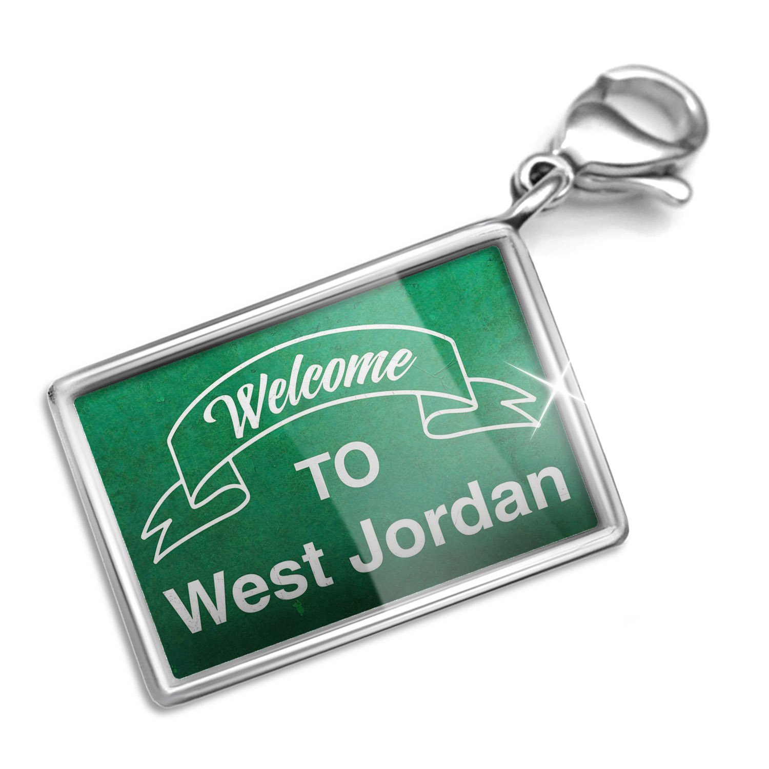 Clip on Charm & Bracelet Set Green Sign Welcome To West Jordan Lobster Clasp