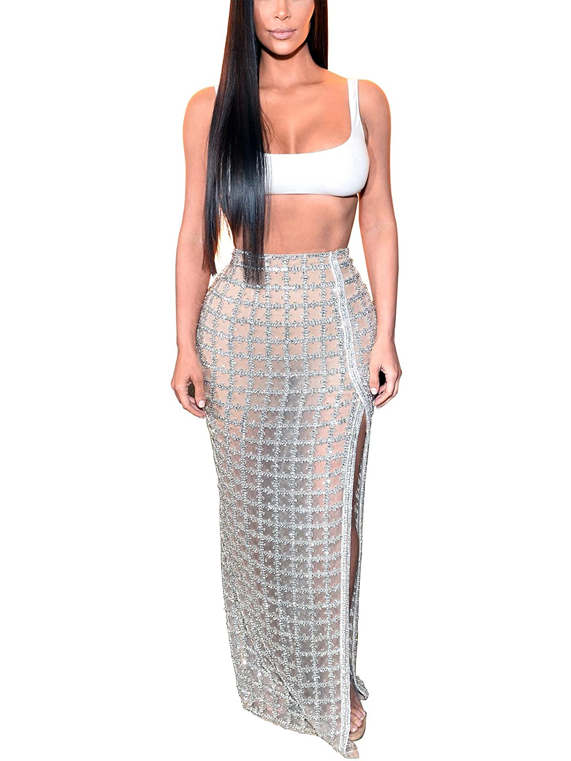 168b28b112 S Curve Women's Bandage Crop Top and Slit Long Plaid Maxi Skirt 2 Piece  Bodycon Club Party Dress at Amazon Women's Clothing store:
