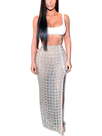 9e4d1bbc390 S Curve Women s Bandage Crop Top and Slit Long Plaid Maxi Skirt 2 Piece  Bodycon Club