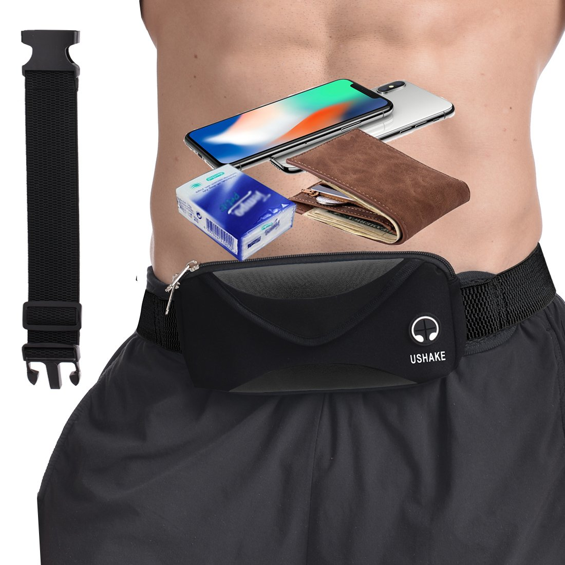 UShake Running Belt with Extender Belt, Bounce Free Pouch Bag, Fanny Pack Workout Belt Sports Waist Pack Belt Pouch for Apple iPhone 8 X 7 6 6+ Samsung Note Galaxy in Running Walking Cycling Gym-05BK