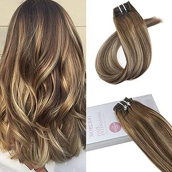 Moresoo 20 Zoll50cm Balayage Farben Clip In Human Hair Extensions Echthaar 7 Tressen Haarfarbe Ombre Farbe Braun Gemischt Karamell Blondine