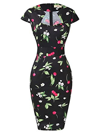 GRACE KARIN Vintage Knee-Length Bodycon Dress for Women CL7597 at ...