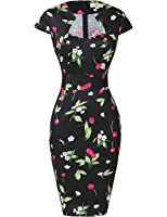 GRACE KARIN Women's 50s Vintage Pencil Dress Cap Sleeve Wiggle Dress CL7597