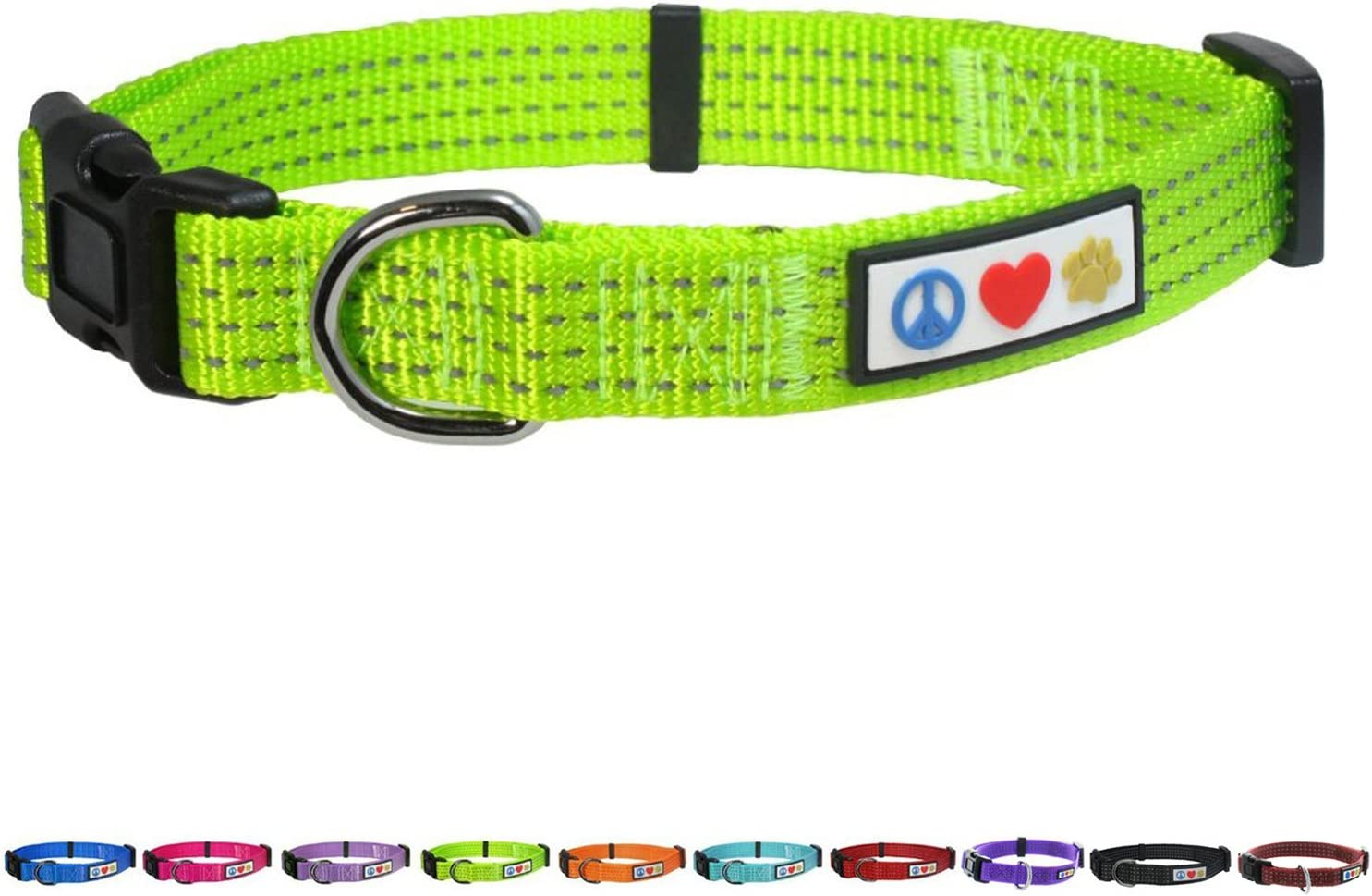 Purple L Pawtitas Dog Collar for Large Dogs Reflective Training Puppy Collar with Stich