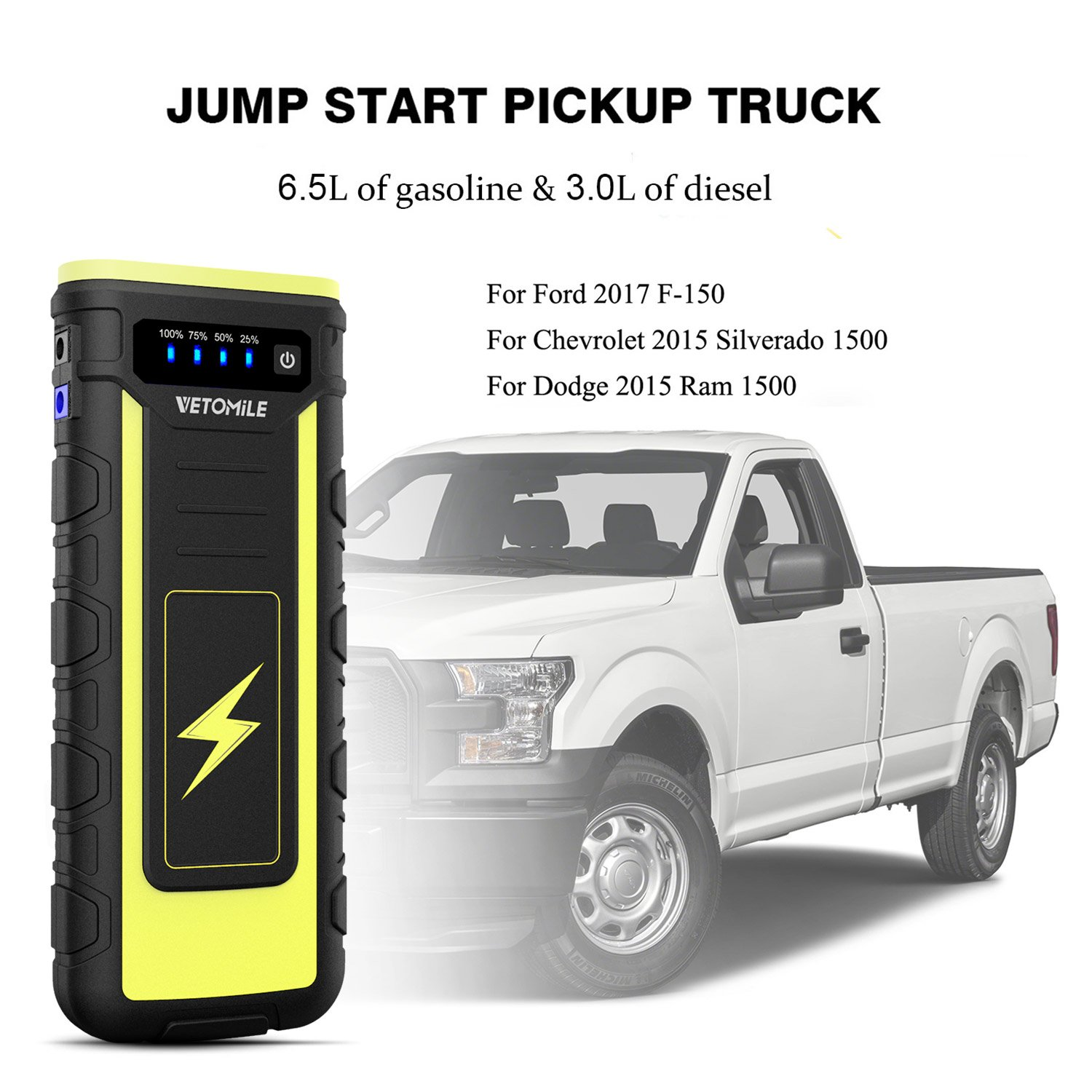 Amazon Com Vetomile A Peak Car Jump Starter Booster Portable Mah Auto Battery Charger Power Bank With Usb Charge Port And Flashlightfor Engines Up