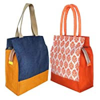 Foonty Daily Use Women Jute Lunch Bags(Combo of 2,Multicolour,fab-3)