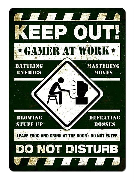 LORENZO Keep out Gamer AT Work Green Vintage Metal Cartel de ...