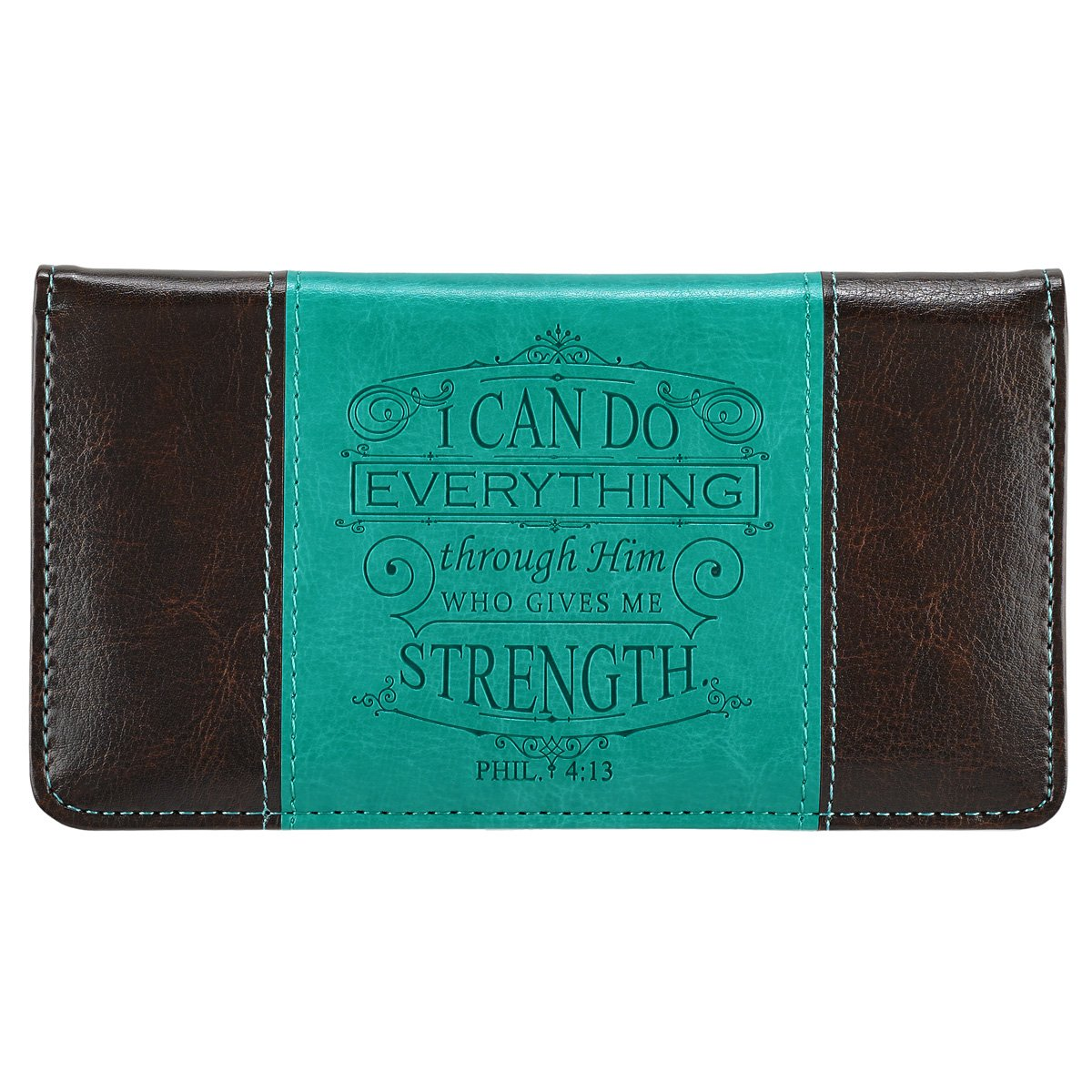 """I Can Do Everything Through Him"" Turquoise & Brown Checkbook Cover Christian Art Gifts CHB032"
