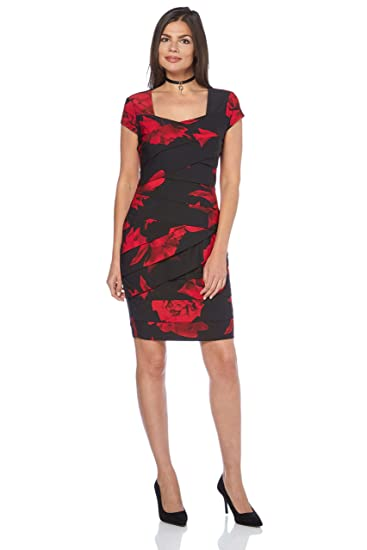 Roman Originals Womens Rose Floral Print Pleat Dress Ladies
