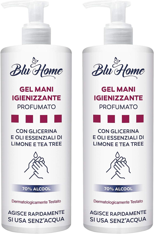 BLU HOME Gel de manos desinfectante 500 ml con dispensador, usado sin agua, con aceites esenciales de árbol de té, limón y adición de glicerina natural (500 ml - 2 piezas): Amazon.es: