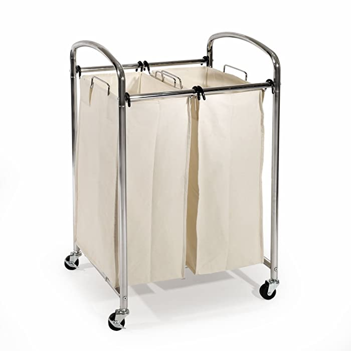 Seville Classics Mobile Double Bag Compact Laundry Hamper Sorter Cart, Chrome, Ultrazinc