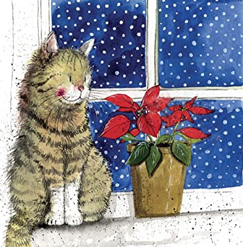 Alex Clark Charity Christmas Cards By The Window Cat Pack Of 5