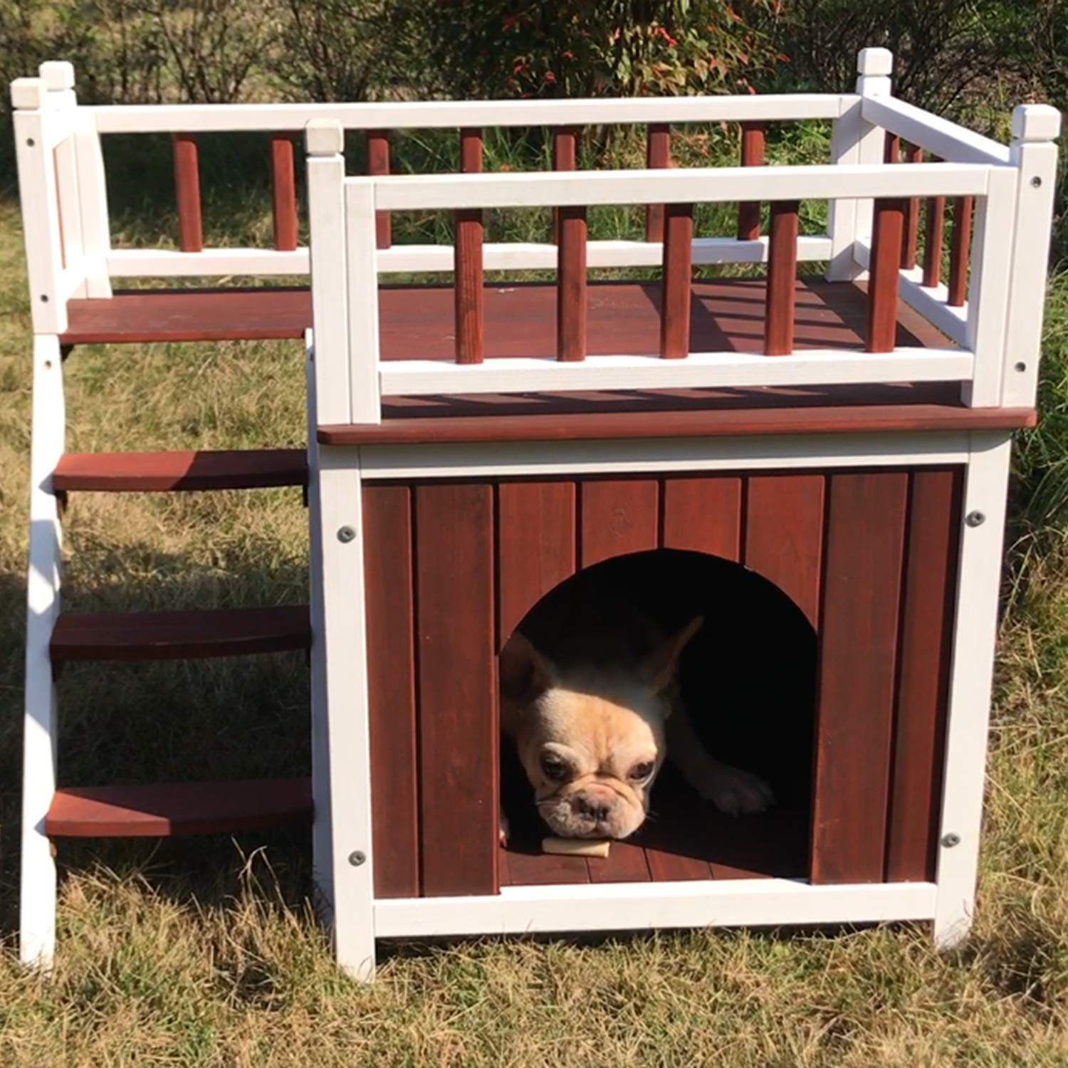 Aivituvin Wooden Dog/Cat House Outdoor and Indoor,Feral Pet Houses for Small Dogs,Kitty Condo/Shelter with Stair Design - 2 Storey