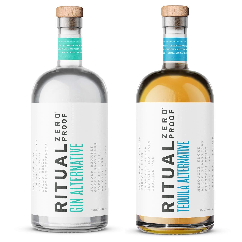 RITUAL ZERO PROOF Gin & Tequila Alternatives | Award-Winning Non-Alcoholic Spirits | 25.4 Fl Oz (750ml) Each | Zero Calories | Keto, Paleo & Low Carb Diet Friendly | Alcohol Free Cocktails
