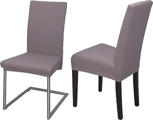 Staboos Housse de chaise extensible universelle en coton 96 % facile d'entretien et infroissable, taupe, Lot de 2
