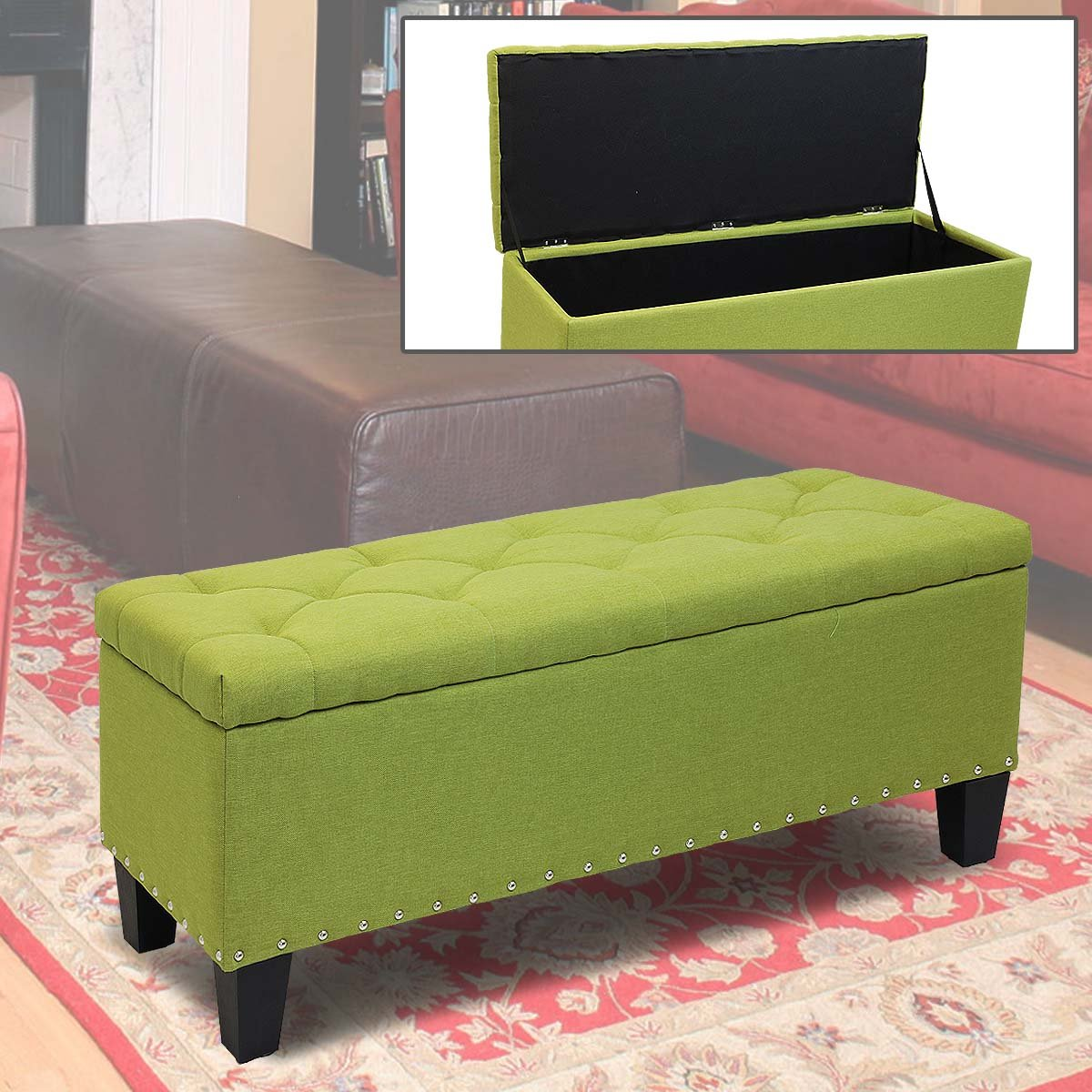 Magshion Rectangular Storage Ottoman Bench Tufted Footrest Lift Top Pouffe Ottoman, Coffee Table, Seat, Foot Rest, and more (42'', Linen Olive) by Magshion (Image #6)