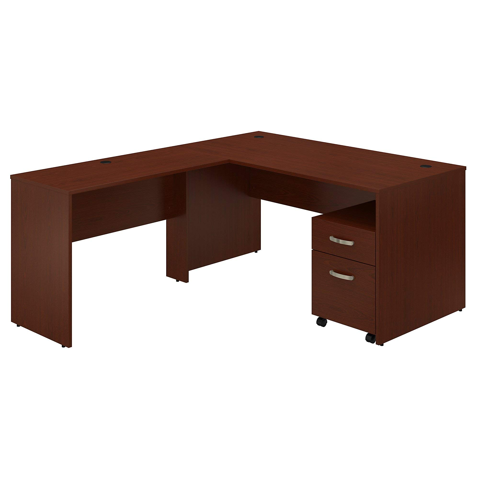 Bush Furniture Commerce 60W L Shaped Desk with Mobile File Cabinet in Autumn Cherry