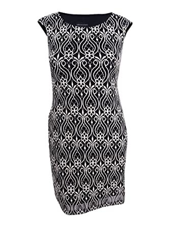 Connected Women/'s Petite Belted Contrast Floral Sheath Dress