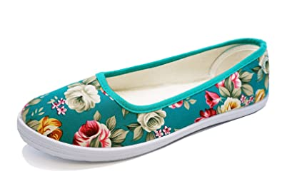 c6d9159af7 Ladies Green Floral Canvas Flat Slip-On Plimsoll Pumps Casual Shoes ...