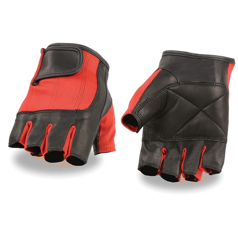 Milwaukee Leather Unisex-Adult Fingerless Glove Black//Red X-Small SH221-BLACK-XS