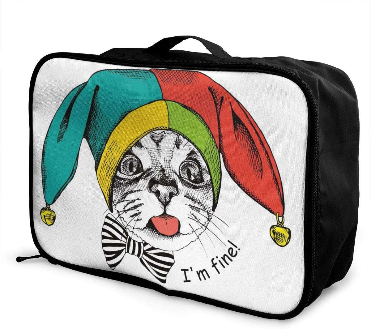 FAITH MORLEY Vector Cute Clown Cat Illustration Large-capacity Travel Luggage Storage Bag, Trolley Case Handle Travel Travel Luggage Bag Travel Partner 71mqE508-xL