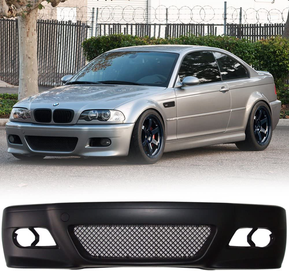 2000 2001 2002 2003 2004 2005 Front Bumper Cover Compatible With 1999-2006 BMW 3 Series E46 2D Coupe M3 Style Front Bumper Guard Conversion Bodykit Black by IKON MOTORSPORTS
