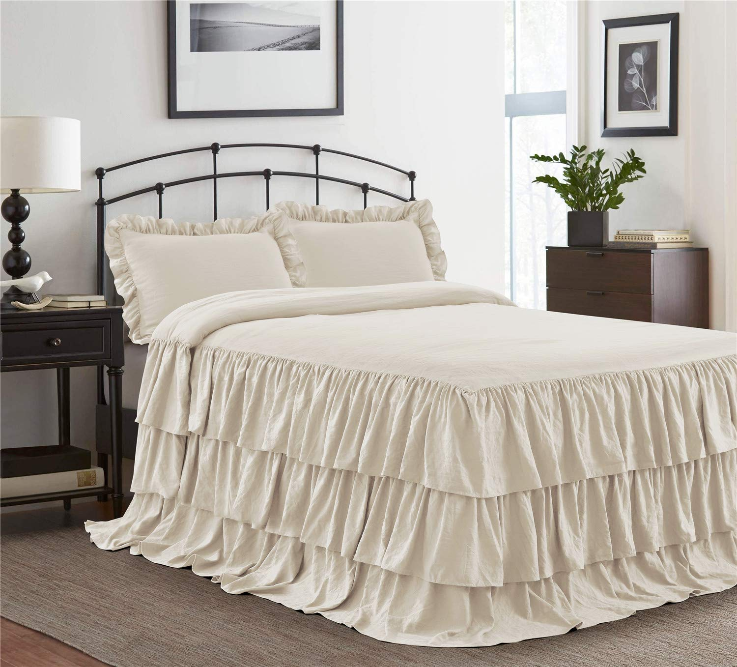 HIG 3 Piece Ruffle Skirt Bedspread Set Queen-Ivory Color 30 inches Drop Ruffled Style Bed Skirt Coverlets Bedspreads Dust Ruffles- Echo Bedding Collections Queen Size-1 Bedspread, 2 Standard Shams