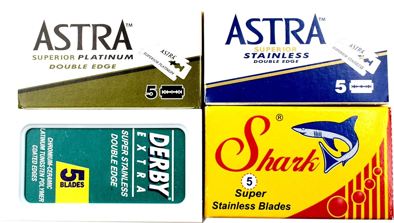 Astra-Derby-Shark Double Edge Razor Blades Sampler, 20 Blades