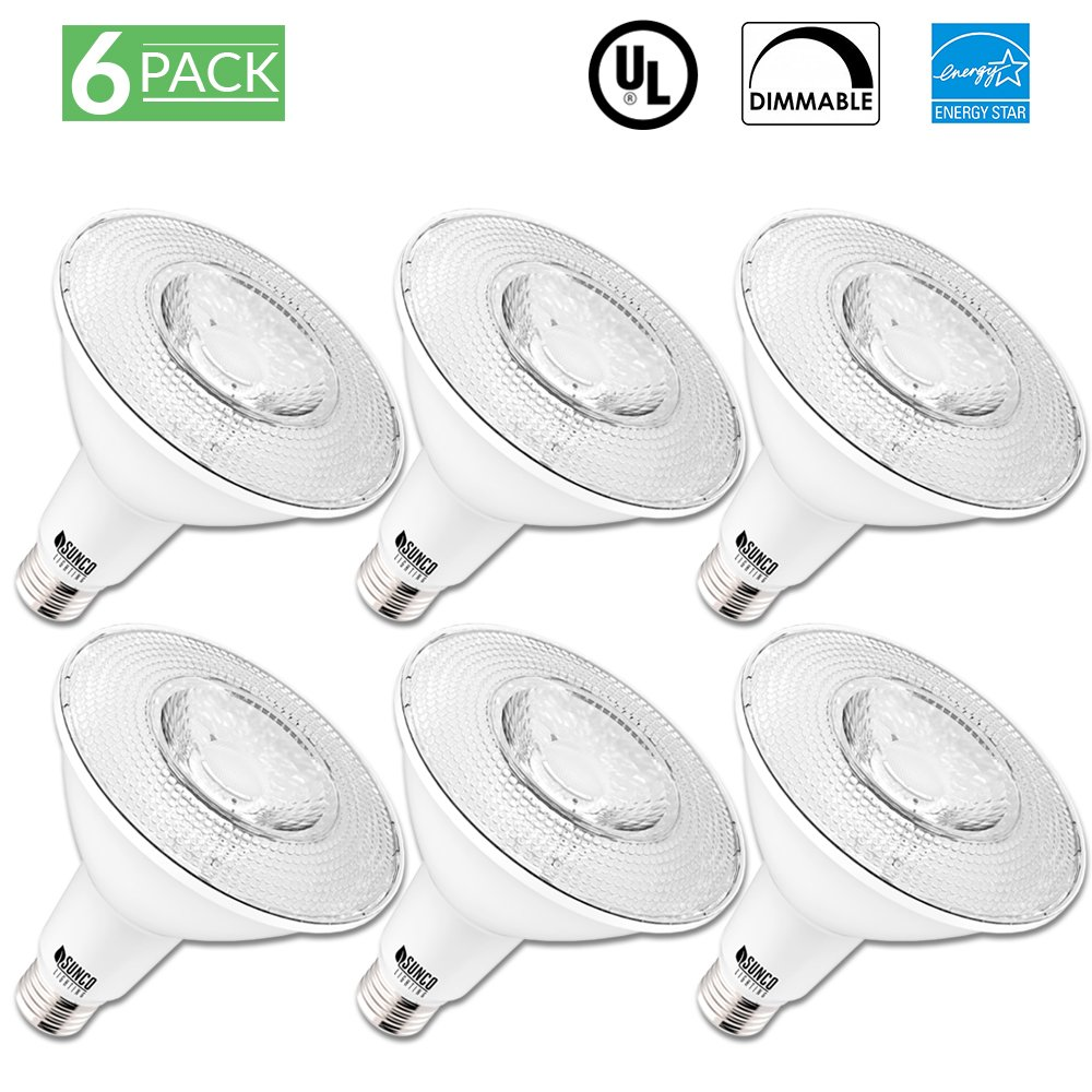 Sunco Lighting 6 Pack PAR38 LED Bulb 13 Watt (100W Equivalent) Flood Dimmable 3000K Kelvin Warm White Light 1050 Lumens, Indoor/Outdoor, 25,000 Hours, Accent and HighLight - UL & ENERGY STAR LISTED