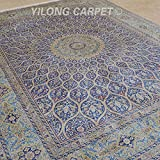 Yilong 9 x12  Oriental Handmade Silk Rugs Classic Persian Floral Medallion Hand Knotted Home Carpet (Blue) Q0879