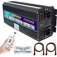Cantonape Inversor De Corriente 4000W/8000W, Transformador De 12v 230v, con 2 Toma Enchufe + 2 Pantalla LED Y Control…