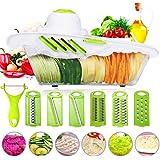 Cortador de verduras Mandolina Frutas Godmorn 6+1 Cortador de verduras manual de patatas rallador de zanahoria rebanador de queso con 6 hojas de acero inoxidable intercambiables verde