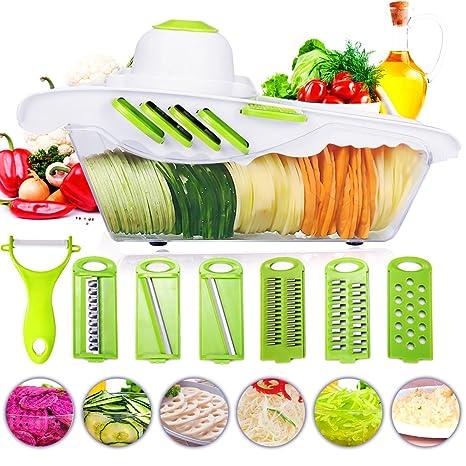 Cortador de verduras Mandolina Frutas Godmorn 6+1 Cortador de verduras manual de patatas rallador de zanahoria rebanador de queso con 6 hojas de acero ...