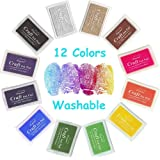 Stamp Ink Pad NISHLEY Ink Pad Stamps 12 Colors Water-Soluble Stamp Pad for Rubber Stamp DIY Scrapbooking Finger Paint-Pack of 12