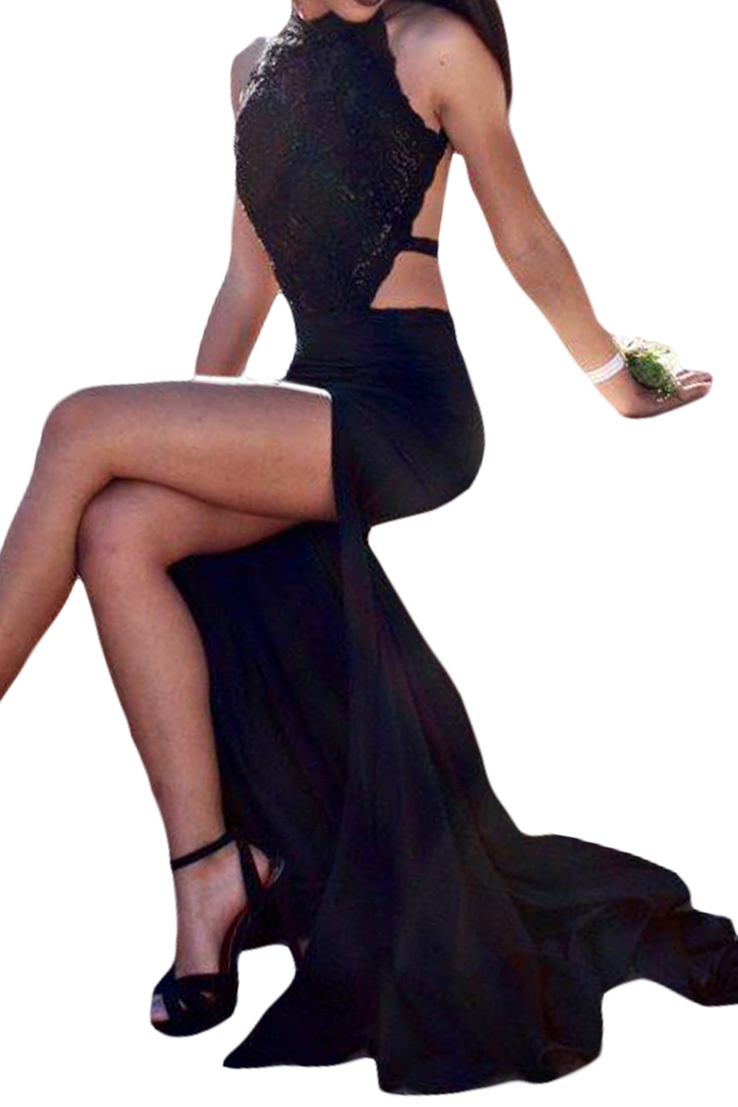 SeasonMall Women's Halter Open Back Spandex With Applique Mermaid Prom Dresses Black Size 6 by SeasonMall (Image #2)