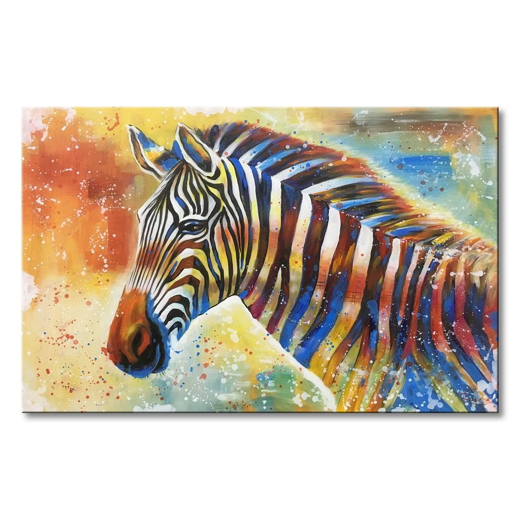 Everfun Large Animal Canvas Art Zebra Handmade Oil Painting Abstract Wall Decor Colorful Horse Artwork Modern Huge Decoration Picture Framed and Stretched