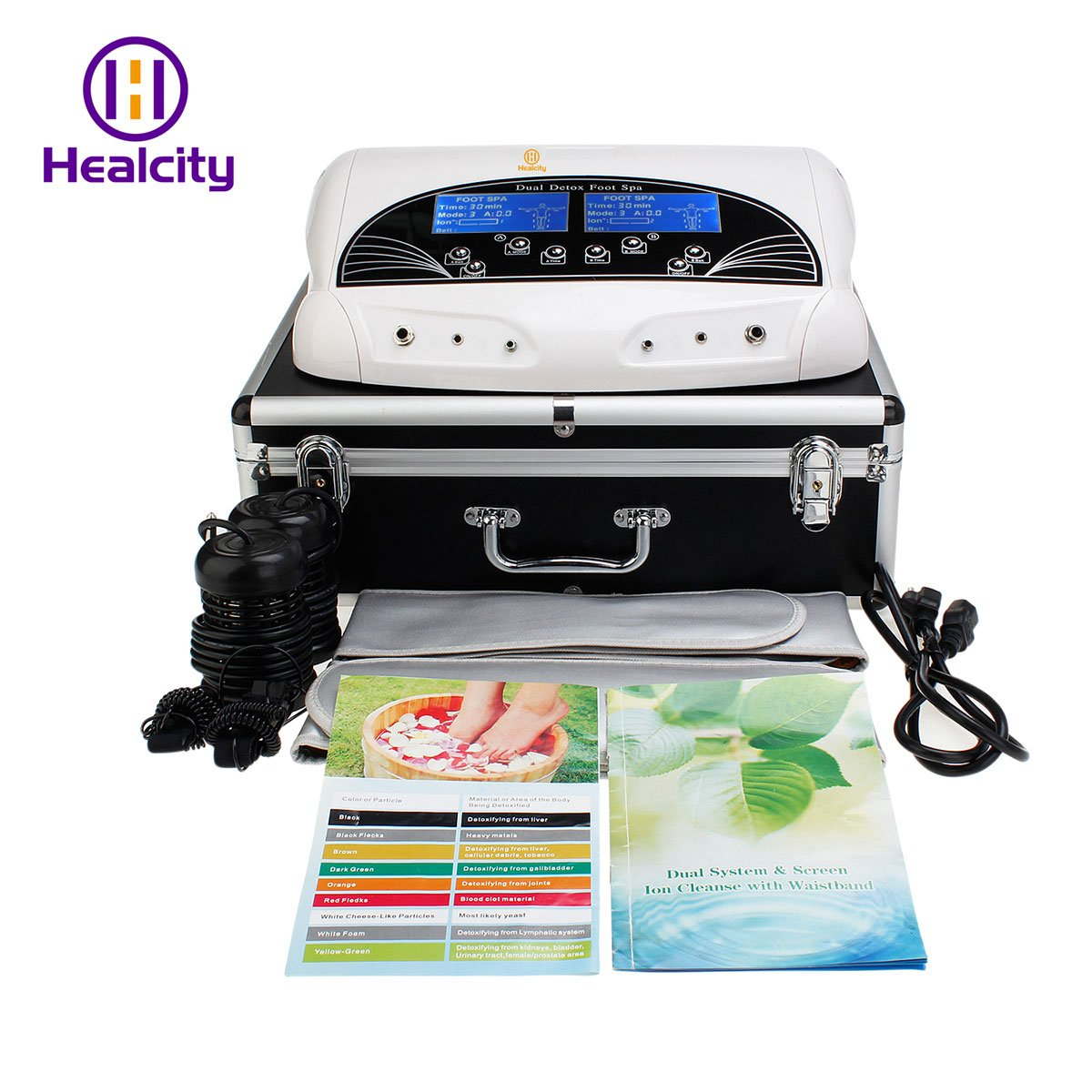 Healctiy Dual User Ionic Detox Foot Bath Spa Machine Cell Cleanse System with Far Belts & Colored LCD Thinkcenter F12-1