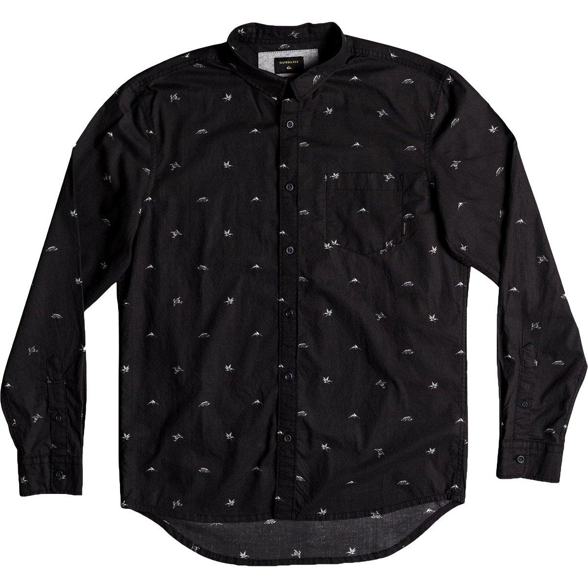 Quiksilver Men's Fuji Mini Motif Long Sleeve Button Down Shirt, Tarmac Fuji Mini Mo, M