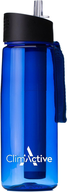 ClimActive Premium - Botella purificadora de agua con mosquetón - 4 etapas 650 ml botella que contiene agua purificando filtro pajita, para senderismo, camping, ciclismo y pesca