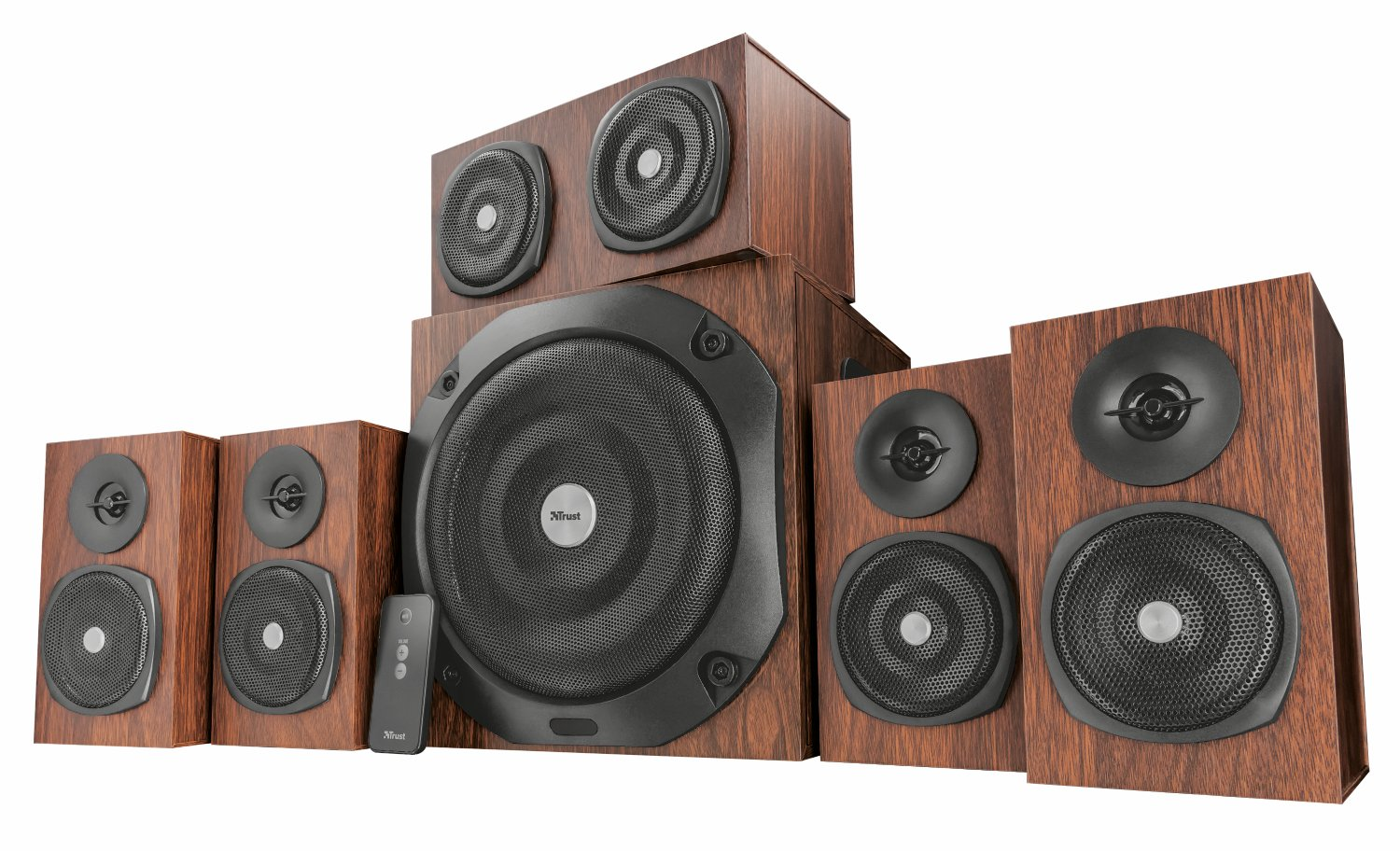 UK Plug 150 W Trust 21787 Vigor 5.1 Surround Speaker System for PC and Laptop Brown