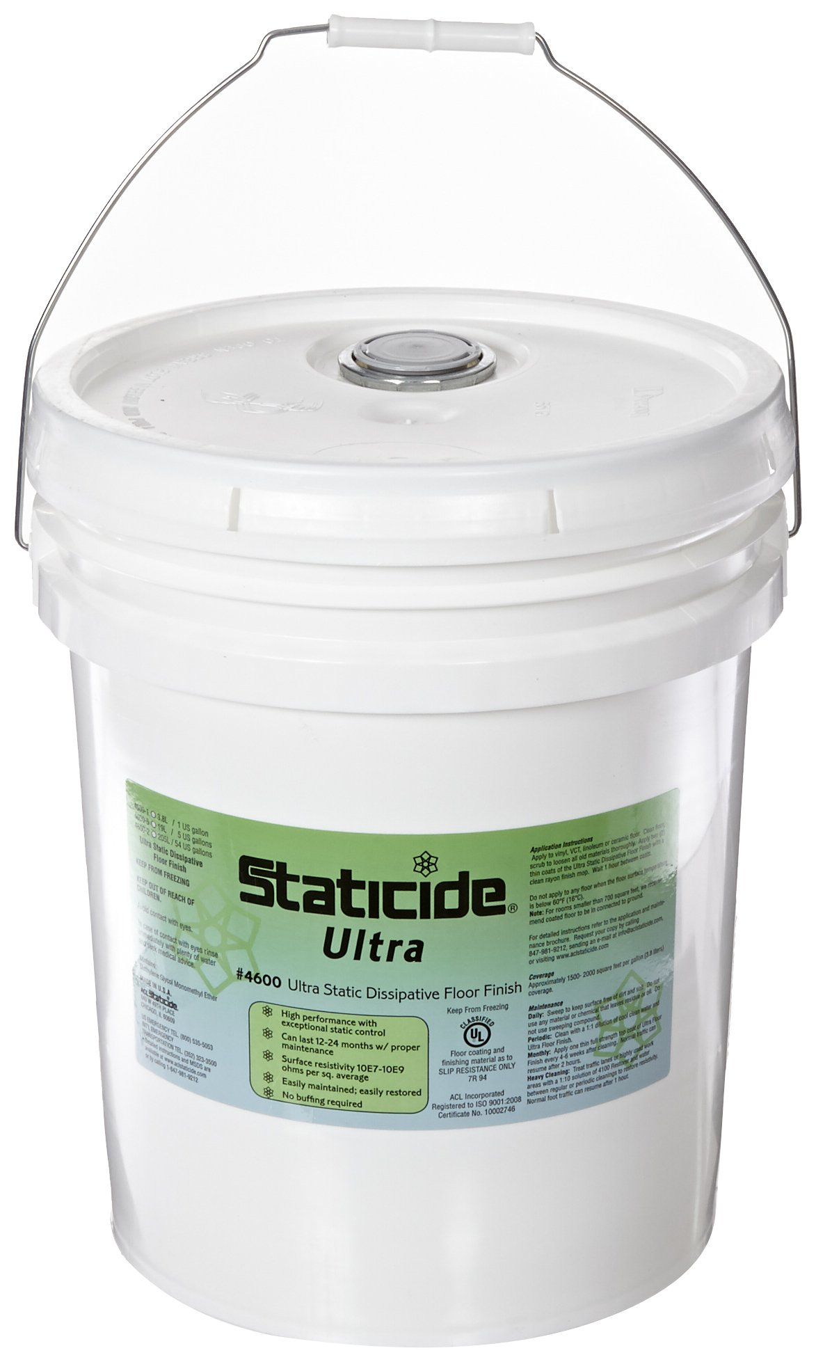 ACL Staticide 4600-5 Ultra Floor Finish, 5 Gallon Pail