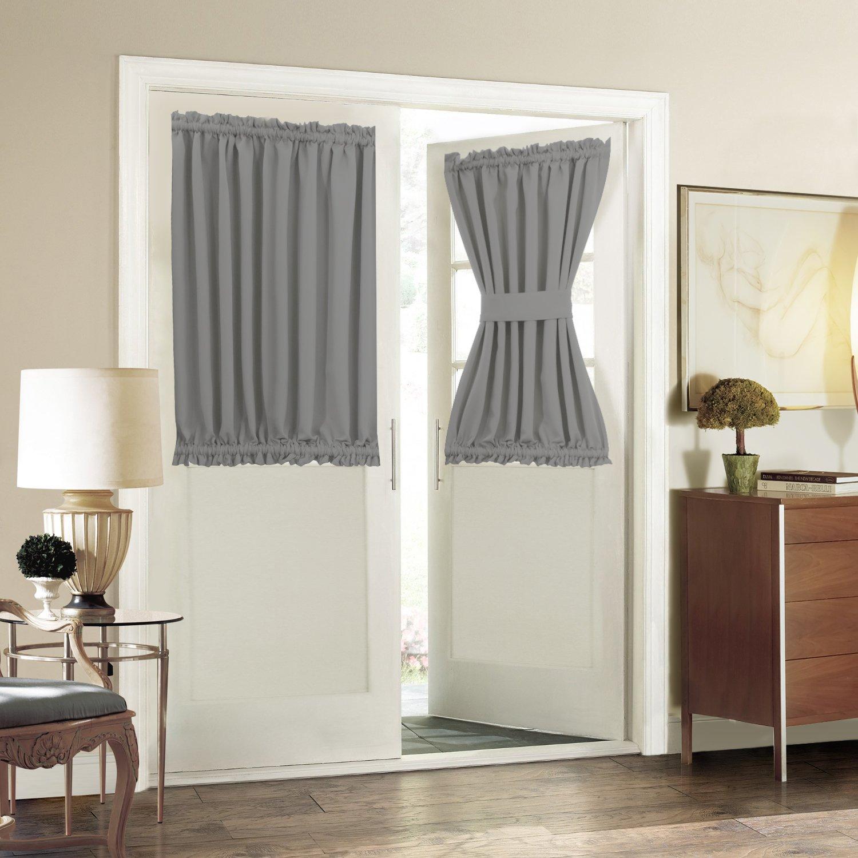 Blackout Door/ Window Curtain Panels for Privacy - Aquazolax 54W x 40L Blackout Window Treatment Curtains for French Door - 1 Panel, Grey by Aquazolax (Image #3)