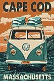 Cape Cod, Massachusetts - VW Van Letterpress (9x12 Art Print, Wall Decor Travel Poster)