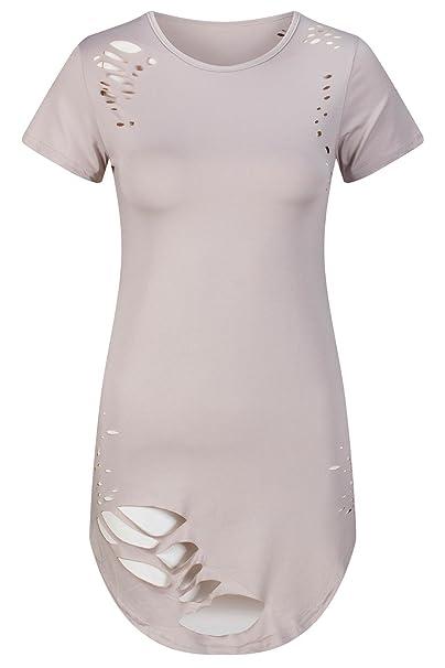 Beauty7 ES 38 T Shirt Holes Ripped Hollow Mangas Corta Dobladillo Irregular Ropas Vintaje Camisetas Mujer