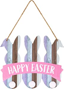 Wood Easter Bunny Hanging Sign Happy Easter Wall Decoration Rabbit Silhouette Wall Sign Plaque Decoration with Pom Pom Tail for Home Office Decoration