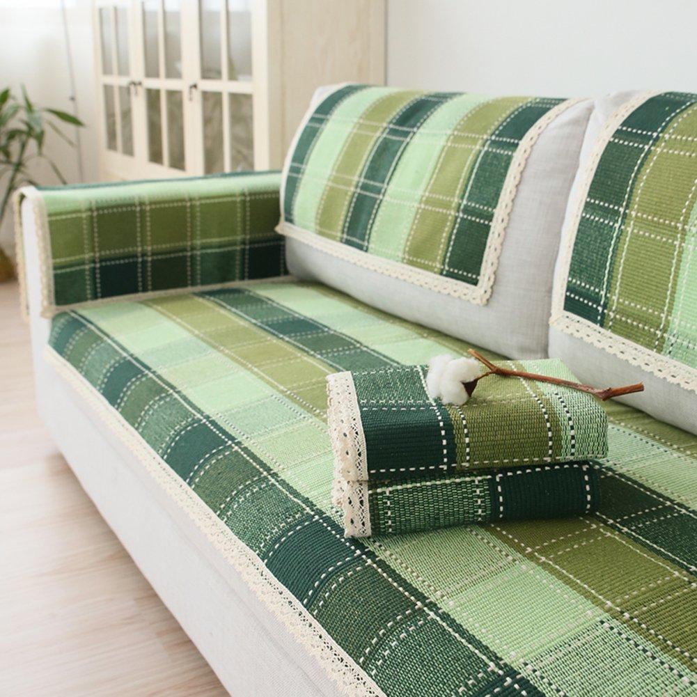 JINGJIE Sofaüberwurf,Universal Vier Jahreszeiten Sofabezug Einfache Moderne Aus Stoff Grün Lattice Sofaüberwurf verkauft durch Stück-A 110x240cm(43x94inch)