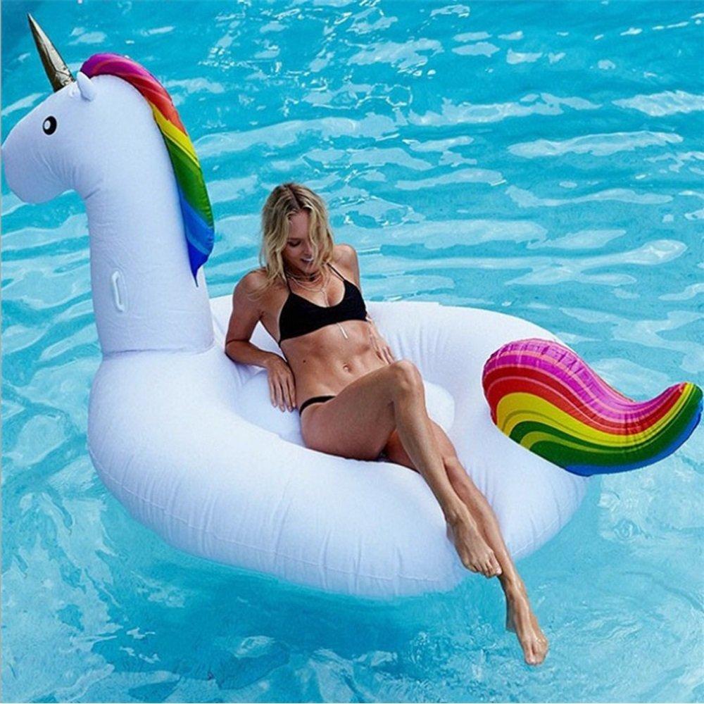 CHENGYI cama flotante, Monturas inflables del caballo del arc iris de la fila del unicornio inflable del PVC ambiental, juguete inflable del flotador de la piscina Silla de la recreación del agua de la cama flotante del adulto y del niño ( T