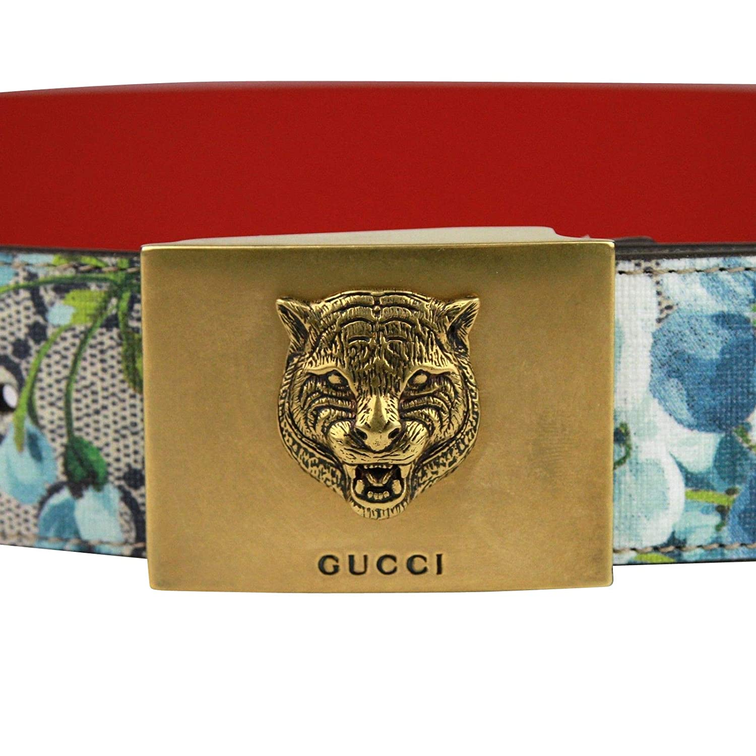 55e2a2929bf Amazon.com  Gucci Unisex Gold Tiger Blue GG Supreme Coated Canvas Bloom  Print Belt Buckle 434559 8492 (80 32)  Clothing